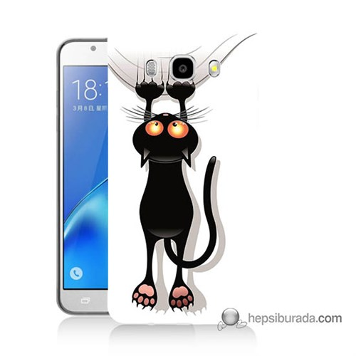 Teknomeg Samsung J5 2016 Kılıf Kapak Kara Kedi Baskılı Silikon