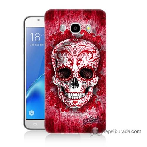 Teknomeg Samsung J5 2016 Kılıf Kapak Kırmızı İskelet Baskılı Silikon