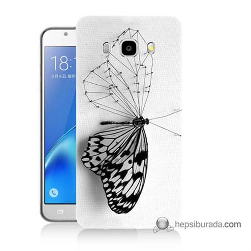 Teknomeg Samsung J5 2016 Kapak Kılıf Kanatsız Kelebek Baskılı Silikon