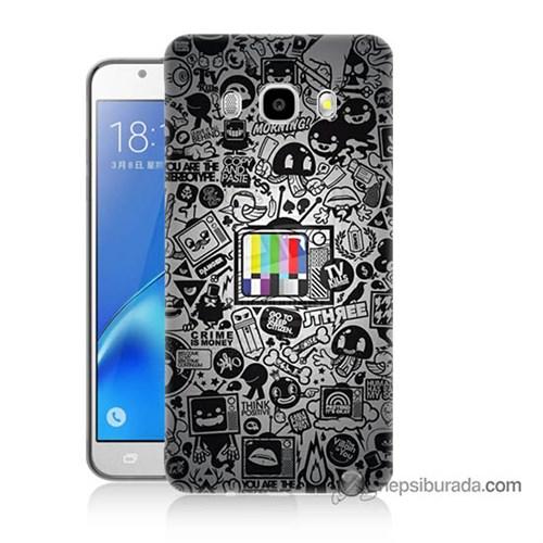 Teknomeg Samsung J5 2016 Kapak Kılıf Renkli Tv Baskılı Silikon