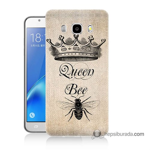 Teknomeg Samsung J5 2016 Kılıf Kapak Queen Bee Baskılı Silikon