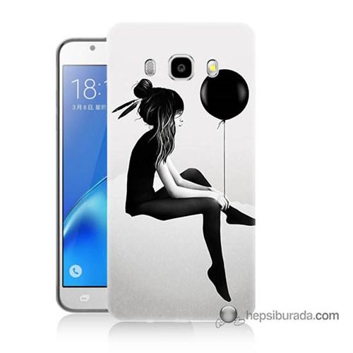 Teknomeg Samsung J5 2016 Kapak Kılıf Balonlu Kız Baskılı Silikon