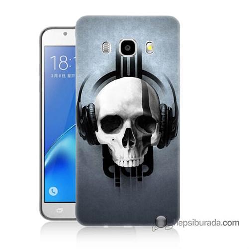Teknomeg Samsung J5 2016 Kılıf Kapak Müzik Dinleyen Kurukafa Baskılı Silikon