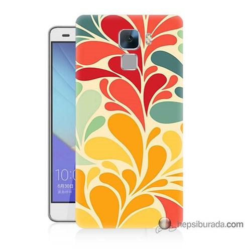 Teknomeg Huawei Honor 7 Kapak Kılıf Çiçekler Baskılı Silikon