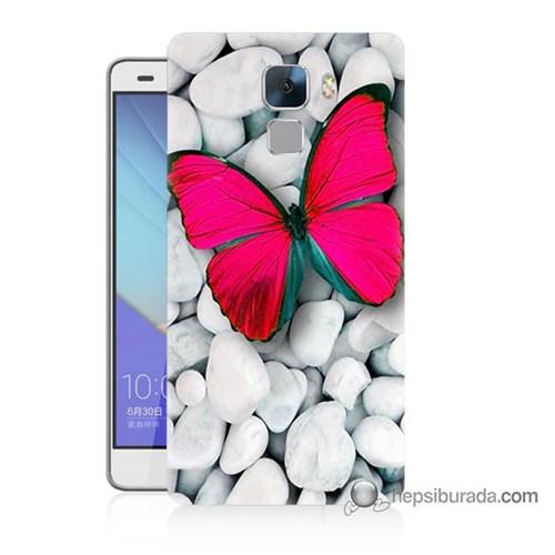 Teknomeg Huawei Honor 7 Kapak Kılıf Kelebek Baskılı Silikon