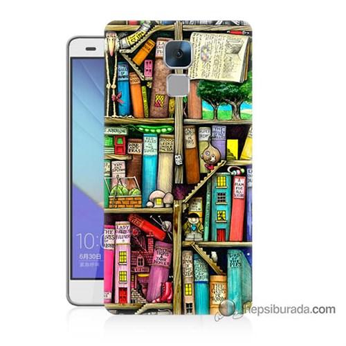 Teknomeg Huawei Honor 7 Kapak Kılıf Kitaplık Baskılı Silikon