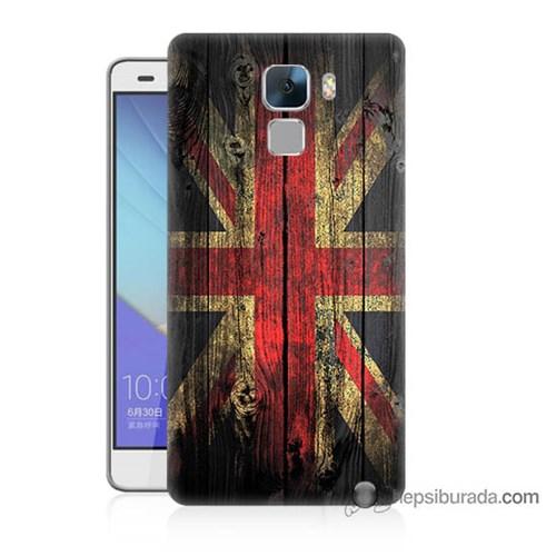 Teknomeg Huawei Honor 7 Kapak Kılıf İngiliz Bayrağı Baskılı Silikon