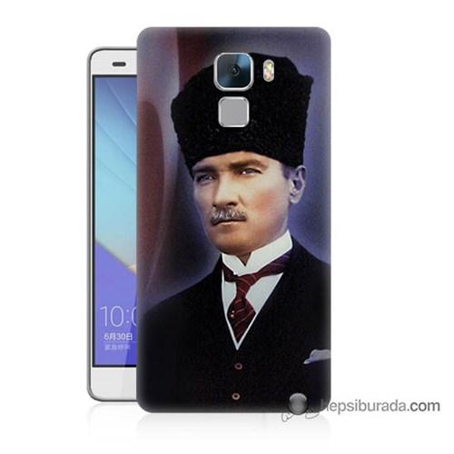 Teknomeg Huawei Honor 7 Kılıf Kapak Mustafa Kemal Atatürk Baskılı Silikon