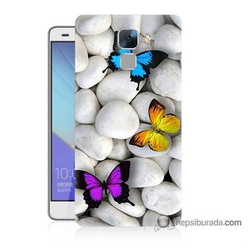 Teknomeg Huawei Honor 7 Kılıf Kapak Kelebekler Baskılı Silikon