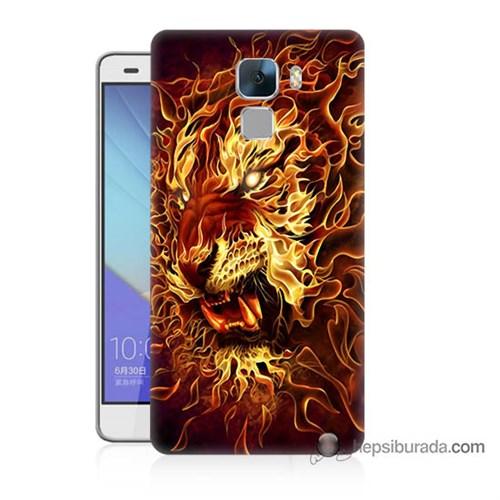 Teknomeg Huawei Honor 7 Kılıf Kapak Ateşli Aslan Baskılı Silikon