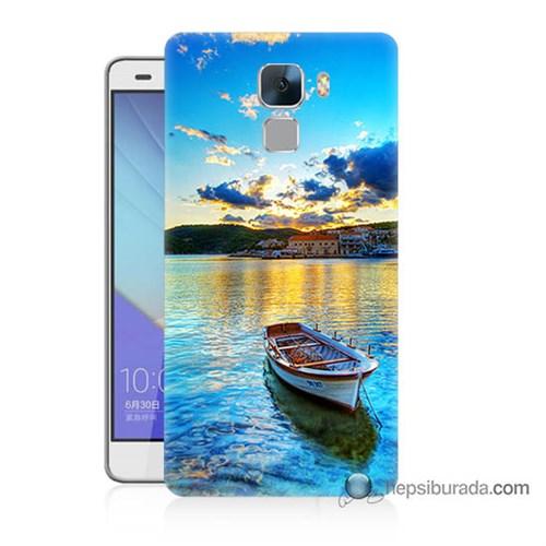 Teknomeg Huawei Honor 7 Kılıf Kapak Gün Batımında Deniz Baskılı Silikon