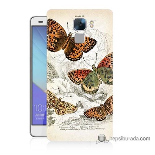 Teknomeg Huawei Honor 7 Kapak Kılıf Kelebekler Baskılı Silikon