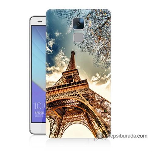 Teknomeg Huawei Honor 7 Kapak Kılıf Eyfel Kulesi Baskılı Silikon