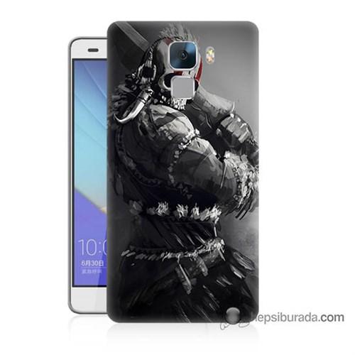 Teknomeg Huawei Honor 7 Kılıf Kapak Tribal Warrior Baskılı Silikon