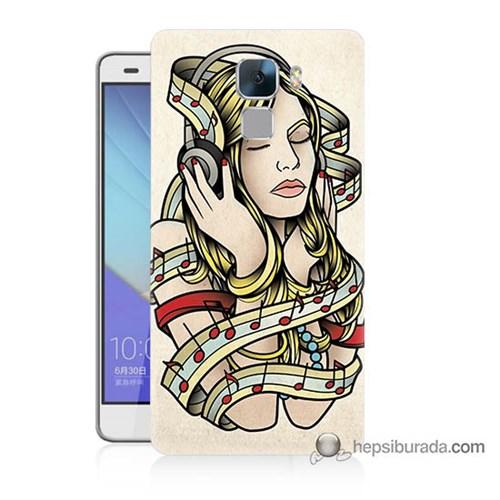 Teknomeg Huawei Honor 7 Kapak Kılıf Müzik Aşkı Baskılı Silikon