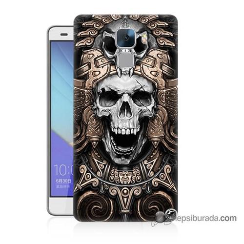 Teknomeg Huawei Honor 7 Kılıf Kapak Kafatası Krallığı Baskılı Silikon