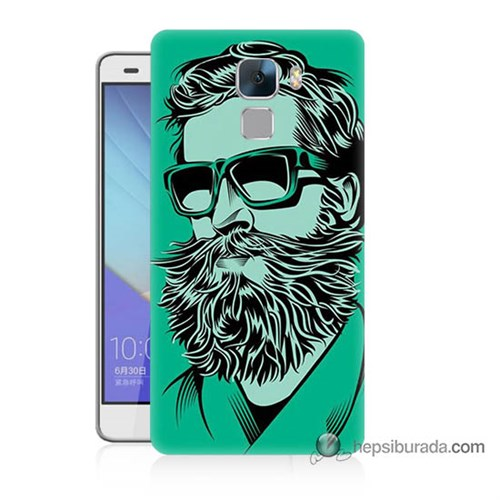Teknomeg Huawei Honor 7 Kılıf Kapak Beard Art Baskılı Silikon