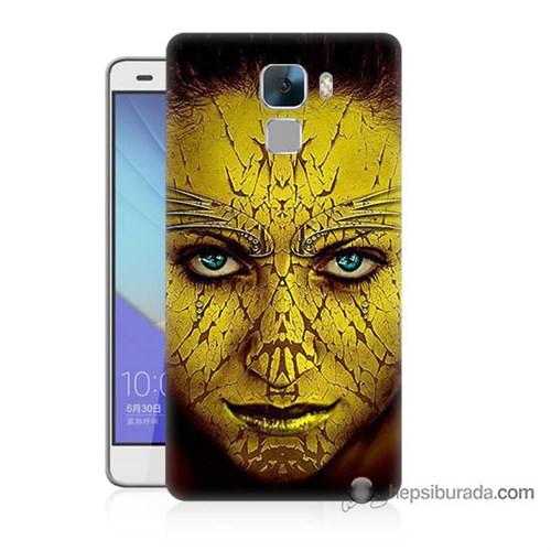 Teknomeg Huawei Honor 7 Kapak Kılıf Sarı Kız Baskılı Silikon