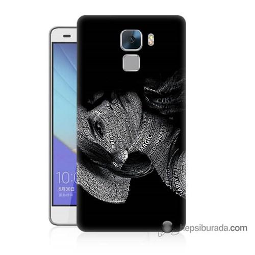 Teknomeg Huawei Honor 7 Kılıf Kapak Yazılı Kadın Baskılı Silikon