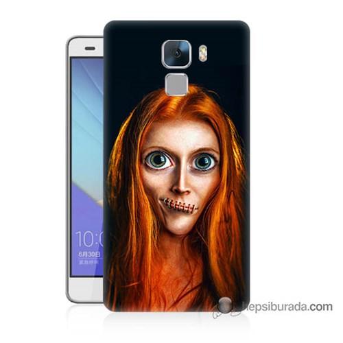 Teknomeg Huawei Honor 7 Kılıf Kapak Zombie Kız Baskılı Silikon