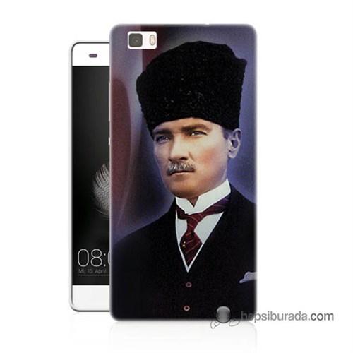 Teknomeg Huawei P8 Lite Kılıf Kapak Mustafa Kemal Atatürk Baskılı Silikon