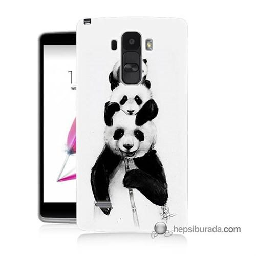 Teknomeg Lg G4 Stylus Kapak Kılıf Panda Ailesi Baskılı Silikon
