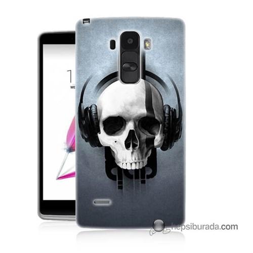 Teknomeg Lg G4 Stylus Kılıf Kapak Müzik Dinleyen Kurukafa Baskılı Silikon