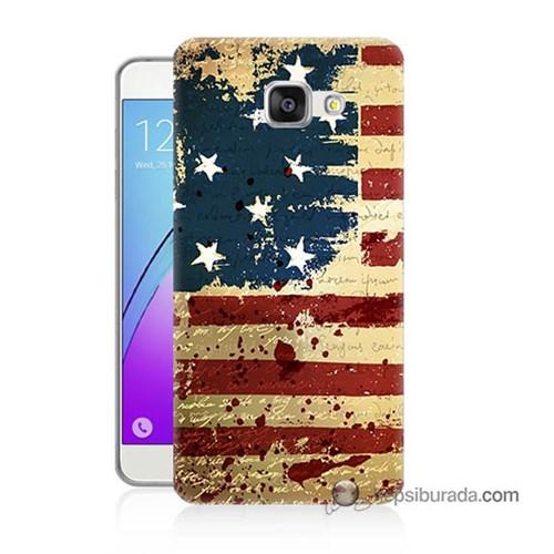 Teknomeg Samsung Galaxy A3 2016 Kılıf Kapak Amerika Bayrağı Baskılı Silikon