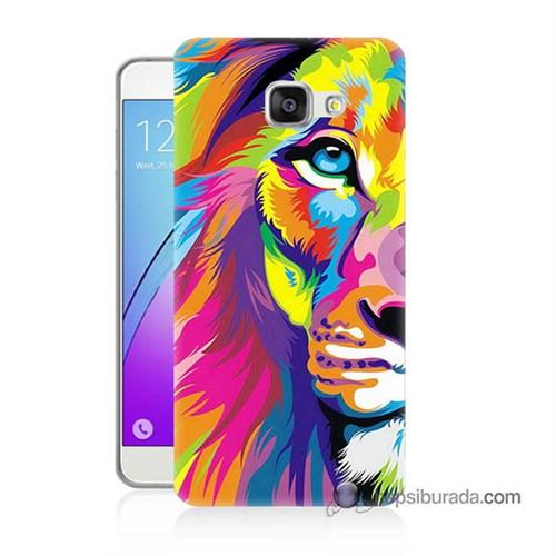 Teknomeg Samsung Galaxy A7 2016 Kılıf Kapak Renkli Aslan Baskılı Silikon