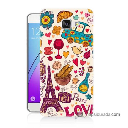 Teknomeg Samsung Galaxy A7 2016 Kapak Kılıf Paris Love Baskılı Silikon