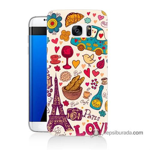 Teknomeg Samsung Galaxy S7 Edge Kapak Kılıf Paris Love Baskılı Silikon