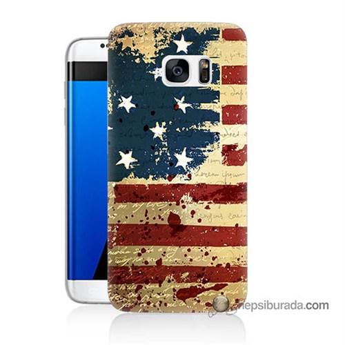 Teknomeg Samsung Galaxy S7 Edge Kılıf Kapak Amerika Bayrağı Baskılı Silikon