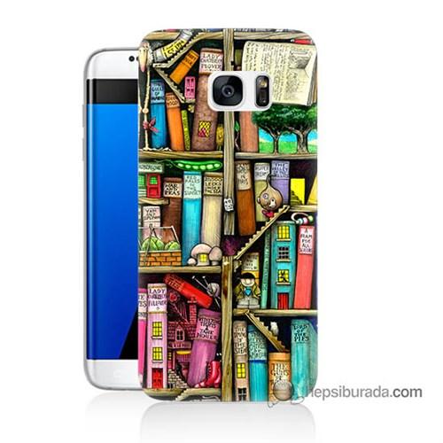Teknomeg Samsung Galaxy S7 Edge Kapak Kılıf Kitaplık Baskılı Silikon