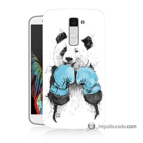 Teknomeg Lg K10 Kılıf Kapak Boksör Panda Baskılı Silikon