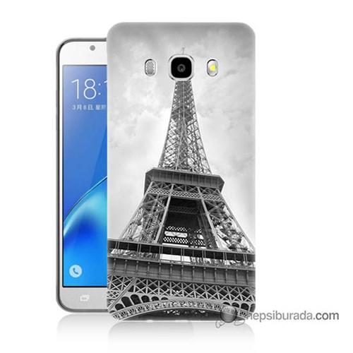 Teknomeg Samsung J5 2016 Kapak Kılıf Eyfel Kulesi Baskılı Silikon