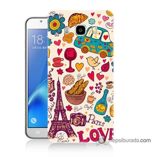 Teknomeg Samsung J5 2016 Kapak Kılıf Paris Love Baskılı Silikon