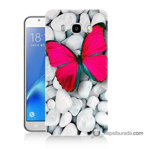 Teknomeg Samsung J5 2016 Kapak Kılıf Kelebek Baskılı Silikon