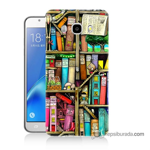 Teknomeg Samsung J5 2016 Kapak Kılıf Kitaplık Baskılı Silikon