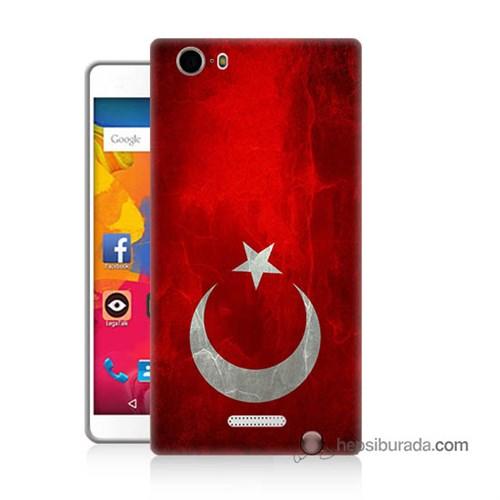 Teknomeg Casper Via M1 Kılıf Kapak Türkiye Bayrağı Baskılı Silikon