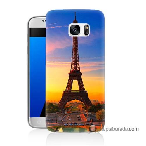 Teknomeg Samsung Galaxy S7 Kapak Kılıf Eyfelde Gün Batımı Baskılı Silikon
