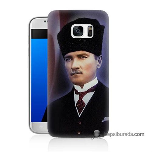 Teknomeg Samsung Galaxy S7 Kılıf Kapak Mustafa Kemal Atatürk Baskılı Silikon
