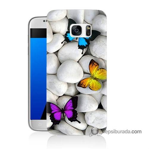 Teknomeg Samsung Galaxy S7 Kılıf Kapak Kelebekler Baskılı Silikon