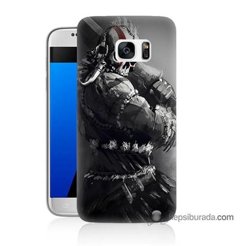 Teknomeg Samsung Galaxy S7 Kılıf Kapak Tribal Warrior Baskılı Silikon