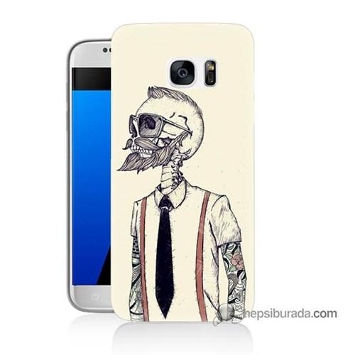 Teknomeg Samsung Galaxy S7 Kapak Kılıf Dövmeli İskelet Baskılı Silikon