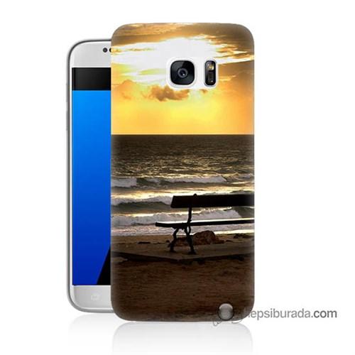 Teknomeg Samsung Galaxy S7 Kılıf Kapak Gün Batımı Baskılı Silikon