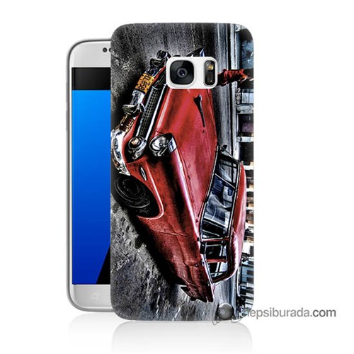 Teknomeg Samsung Galaxy S7 Kılıf Kapak Klasik Araba Baskılı Silikon
