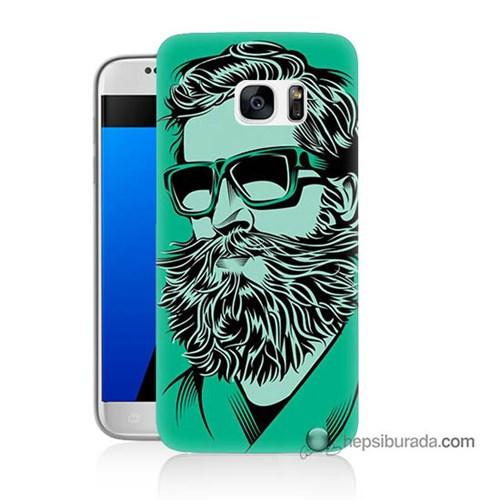 Teknomeg Samsung Galaxy S7 Kılıf Kapak Beard Art Baskılı Silikon
