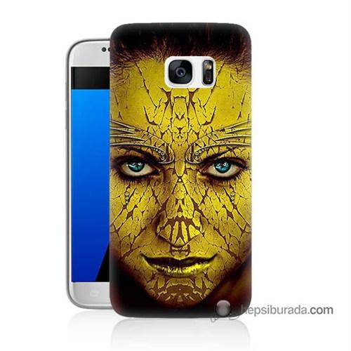 Teknomeg Samsung Galaxy S7 Kapak Kılıf Sarı Kız Baskılı Silikon