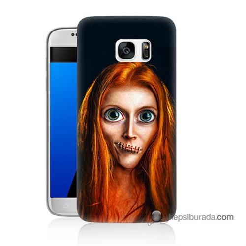 Teknomeg Samsung Galaxy S7 Kılıf Kapak Zombie Kız Baskılı Silikon