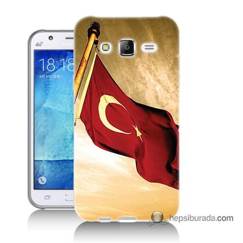 Teknomeg Samsung Galaxy J5 Kılıf Kapak Türk Bayrağı Baskılı Silikon